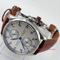 Parnis watch 43mm Power reserve White dial brown leather strap deployant clasp ST2542 Automatic movement  Men's watch 99