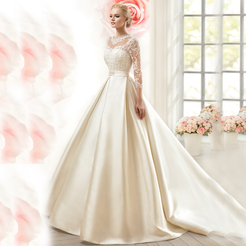 Ivory Lace Bodice Ball Gown Wedding Dress With Sheer Long: WW350 Lace Ball Gown Wedding Dresses Elegant Satin Sheer O