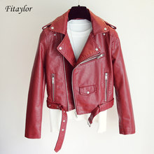 Fitaylor 2019 New Women Faux Leather Jacket Fashion Bright Color Black Motor Coats Short Pu Leather Biker Jackets Coat Female(China)