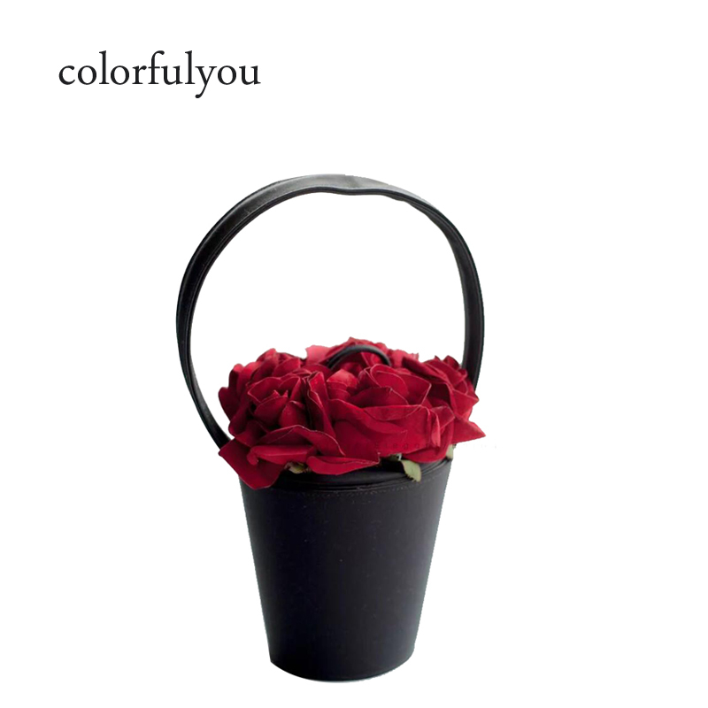 2019 NEW fashion retro women handbag Handmade Rose Flower Bucket bag women tote bag Evening Bags