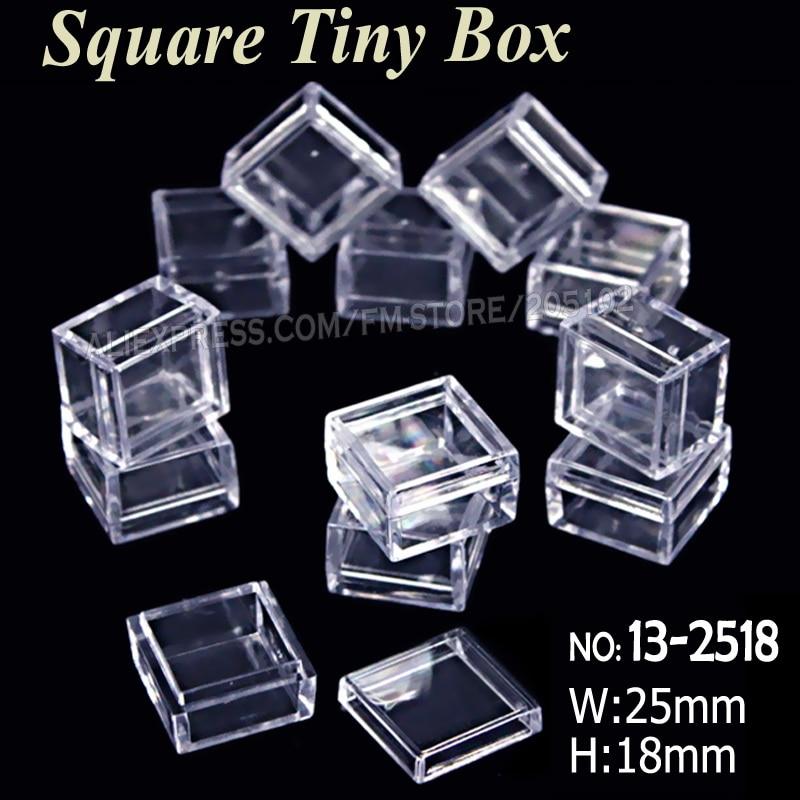 Mini boîte carrée de 25x18mm | Plastique transparent de stockage pour outil de bricolage, Nail Art bijoux accessoires perles pierres artisanat case conteneur