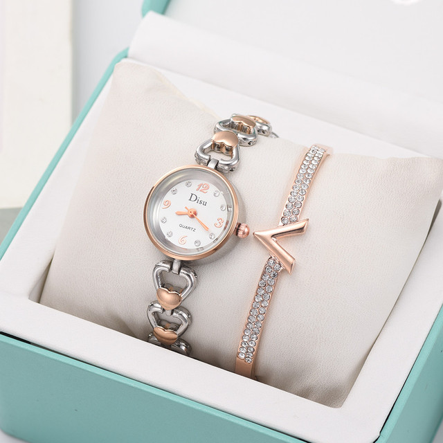 Rhinestone Bracelet Chain Set Luxury Women Watch Temperament Elegant Wrist Watch For Women Gift Quartz Clock Montre Femme /PT