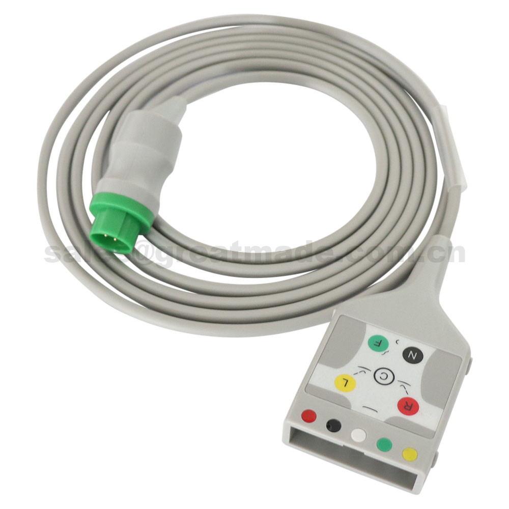 Compatible avec le câble de tronc d'ecg médical de Mennen, 5-plomb, 13pin-> AA 2pin, AHA, utilisation avec le fil de plomb compatible de hp 5-plomb.