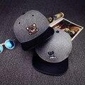 6 панелей серый хип-хоп шляпа с небольшой собака вышивка snapback шапки для мальчиков и девочек