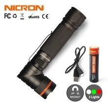 NICRON Magnet 90 Grad Wiederaufladbare LED Taschenlampe Ultra Helle Hohe Helligkeit Wasserdicht 3 Modi 300LM Zoomable-led B70