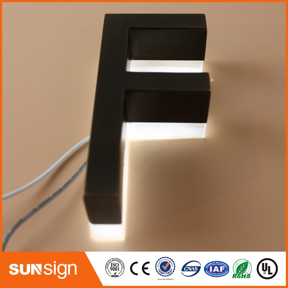 Customized Outdoor Archaize Stainless Steel Led Backlit Logo Sign