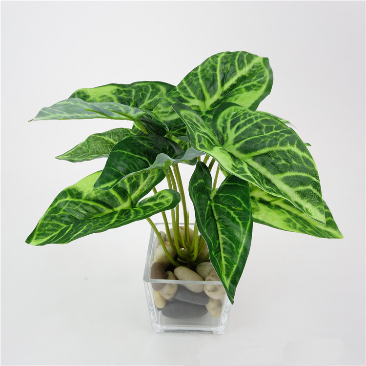 Artificial plants plastic fake flower leaves home for Artificial plants for decoration