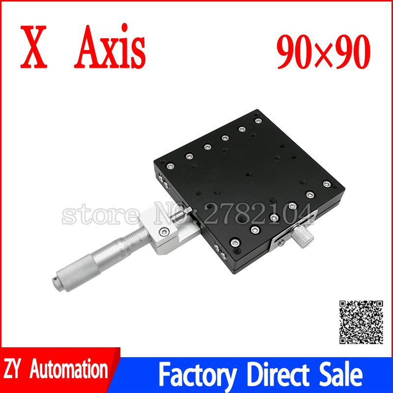 X Axis 90x90mm Trimming Platform Manual Linear Stages Bearing Tuning Sliding Table X90-L X90-C X90-R Cross Rail цена 2017