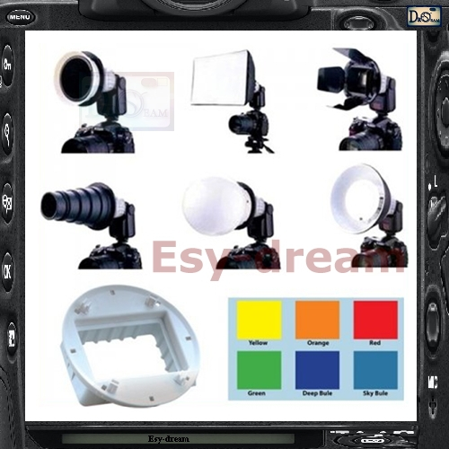 Flash Speedlite Accessories 6in1 Kit Softbox Diffusor For Sony F32X HVL-F58AM Sigma EF430 EF500 DZBIS-112C II 444D DF340Z SFD35 flash diffuser for sony hvl f58am white