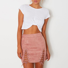 Sexy Lace Up Leather Suede Skirts Women Vintage Cross Zipper Split Mini  Skirt Sexy High Waist 10f037689d62