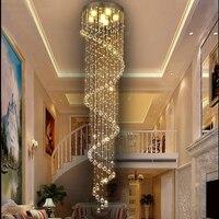 Modern LED Spiral K9 Crystal Chandelier Lighting for Living Room Foyer Staircase Bedroom Hotel Hall Ceiling Suspension Lamp