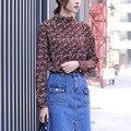 Yichaoyiliang verano remata camisetas de manga larga de gasa camiseta de la impresión floral de corea señoras de la oficina camisa de la manera mujeres clothing