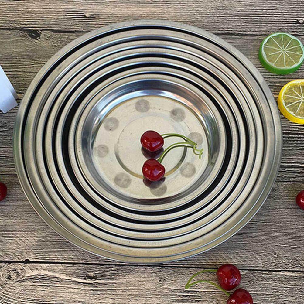 캠핑 16-28cm 디아 스테인레스 스틸 식기 디너 플레이트 식품 용기 샐러드 디저트 과일 서비스 접시 트레이 #1212