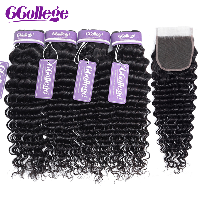 Ccollege Hair Deep Wave Malaysian Hair Bundles With Closure Remy Hair Extension 3 Bundles With Closure