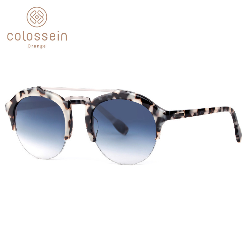 COLOSSEIN Sunglasses For Women Vintage Luxury Cat Eye Style Round Sun Glasses Men Brand Designer Eyewear