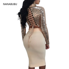 NANABUBU 2018 New Two Pieces Bandage Dress Women Party Long Sleeve Sexy Sequined Lace Up Bodycon Night Dress Women Vestidos