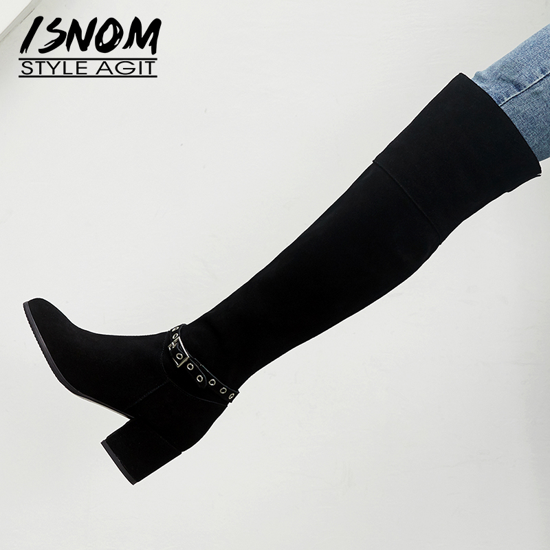 ISNOM Thick High Heels Women Boots Pointed Toe Zip Footwear Cow Suede Warm Female Boot Over The Knee Shoes Woman 2018 New Black full grain genuine cow leather knee high boots shoes for woman black point toe anti slip pointed toe female women s boot pr1354