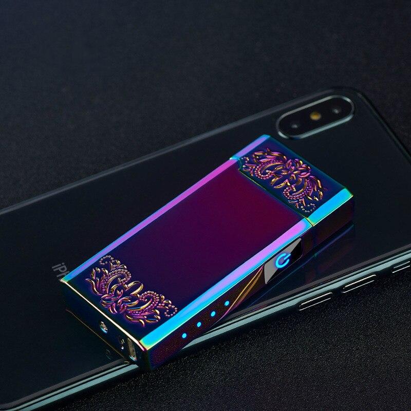 Новинка 2020, двухдуговая плазменная USB Зажигалка, Светодиодный дисплей питания, электрическая перезаряжаемая зажигалки, гаджеты для сигарет...