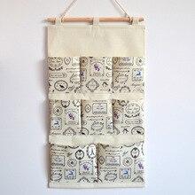8 Pocket Storage Hang Bag Canvas Stationery Storage Bag Waterproof Makeup Holder Behind Door Cloth Rack Home Organization