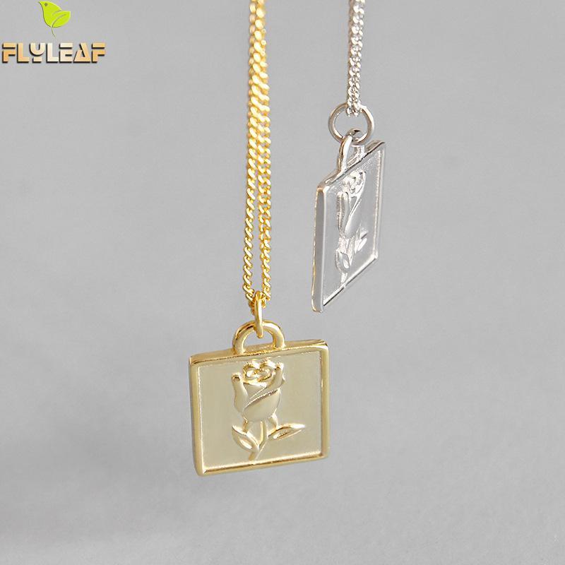 Купить flyleaf золотые квадратные ожерелья и кулоны с розами для женщин