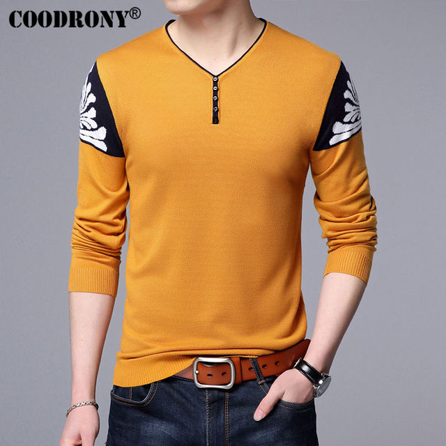 COODRONY Button V-Neck Sweater Men Knitted Wool Pullover Men Brand Clothing Mens Sweaters Autumn Winter Slim Fit Pull Homme 7128