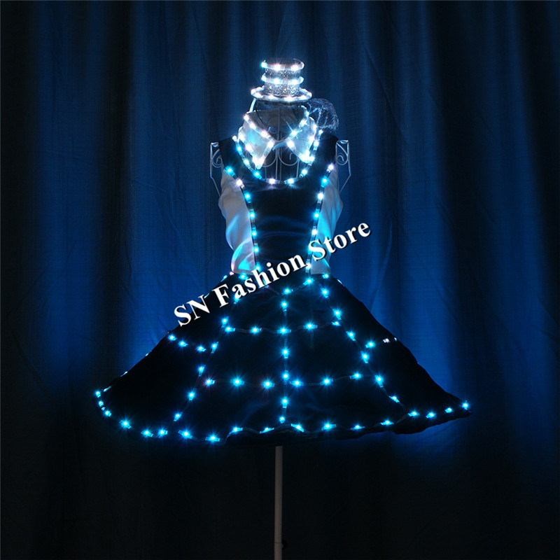 TC-181 Programmable luminous led light dance clothes ballroom led costumes glowing RGB stage dresses lighting hat ballet skirt