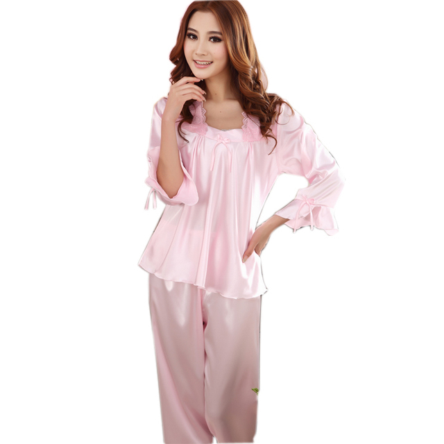 15789ccf1f Fashion Brace Satin Silk Pajamas Home Apparel New Design Women Solid Pink  Square Collar Pajamas For