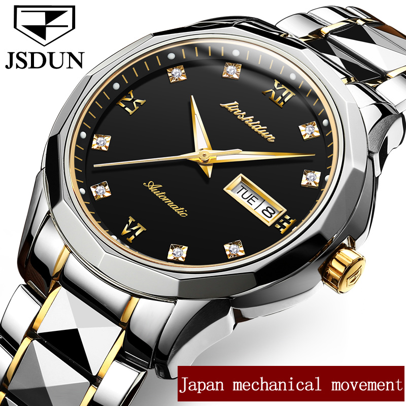 Mechanical Wristwatch JSDUN Top Brand Switzerland Luxury Automatic Watch Men Water Resistant Stainless Steel Date Wrist watch 2017 woman wallets luxury design high quality genuine leather famous brand card holder men long wallet purse clutch