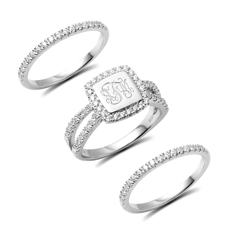 AILIN Personalized Engraved Stacking Monogram Ring With Cubic Zirconia Sterling Silver Engagement Ring