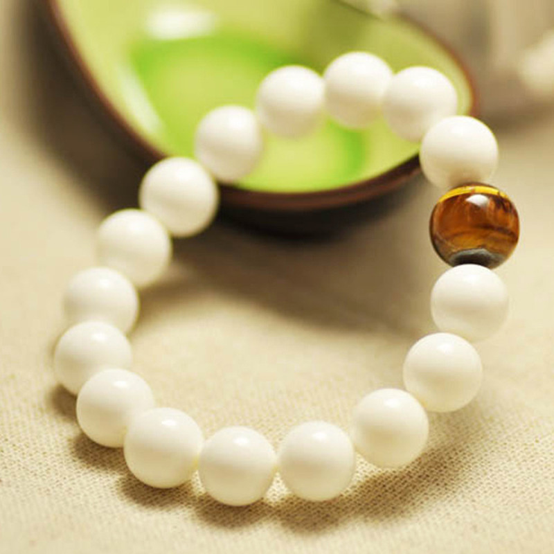 mm Natural Pure White Tridacna Round Bead Bracelet Bangles Yellow Tiger Eye