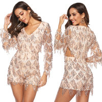 Long Sleeve Sequin Jumpsuit Winter Spring Women New Sexy Gold Tassel Jumpsuit Fringe Tassel Bodysuit Sequin Playsuits Romper XL