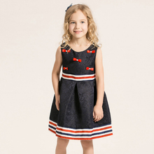 New spring and summer girls Striped bow jacquard fabrics Dress European style Upscale princess dress party gift 3T-12T years