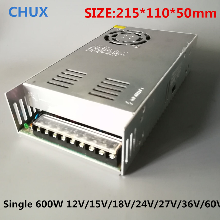 600W 12v Single Output Switching power supply Transformer 110v 220v AC DC SMPS for CNC Led strip 15v 18v 24v 27v 36v 48v 60v 10a 10amp mini home controller 12v 24v auto work ls1024b pwm solar battery regulator bluetooth function and cables epever