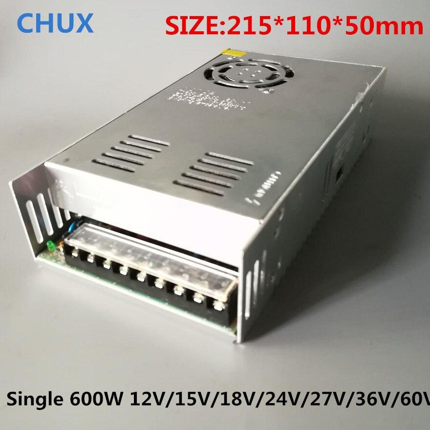 CHUX 600 w 12 v Petit Volume Simple Sortie Alimentation à découpage Transformateurs AC110V 220 v À DC SMPS 15 v 18 v 24 v 27 v 36 v 48 v 60 v
