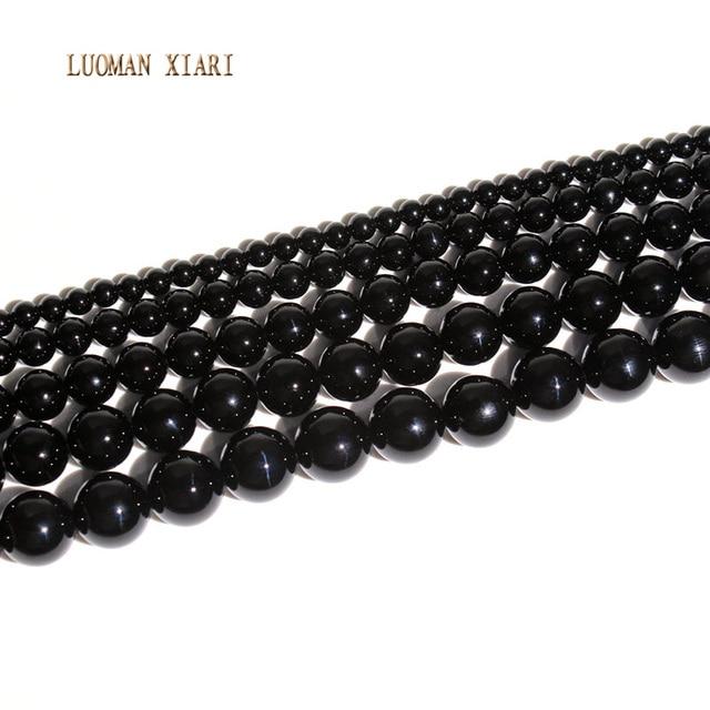 AAA + nowy czarny onyks Agat chalcedon DIY Handmade kamień naturalny koraliki do tworzenia biżuterii okrągły kształt 4/6/8/10/12mm Strand 15''