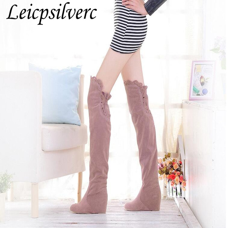 New Hot Sell Brand Women's Fashion Over The Knee High Heel Warm Winter Long Boots Inner Wedge Knight Boots Plus Size 34-43 зеркало ellux stripe led str a3 9110