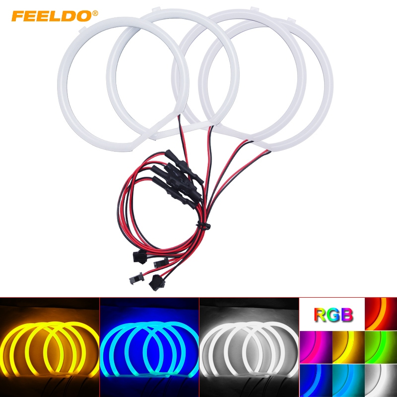 FEELDO 4X127 5mm Auto Halo Rings Cotton Lights SMD LED Angel Eyes for BMW E39 OEM