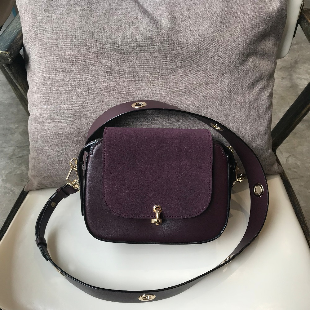 Kafunila 2018 genuine leather saddle bag famous brand designer real leather women small bag for girls crossbody messenger bags