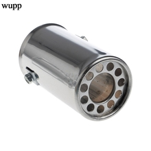 Universal Stainless Steel Car Rear Round Exhaust Pipe Tail Throat Muffler Tip Drop shipping
