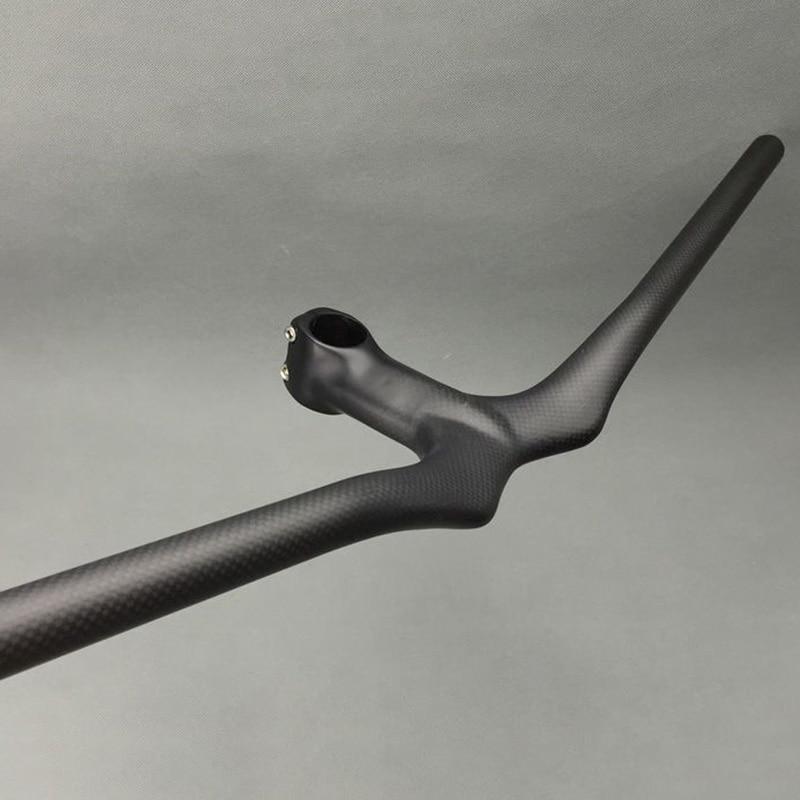Матовий 3K вуглецевий гірський велосипед підйому руль інтегрований бар стовп MTB велосипед руль 600/620/640/660/680 / 700-90 / 100/110/120 мм