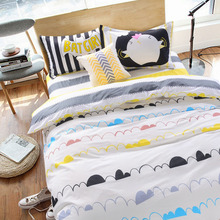 2017 Simple and lovely modern double-sided quilt cover 4-piece double bed full-size bed linen