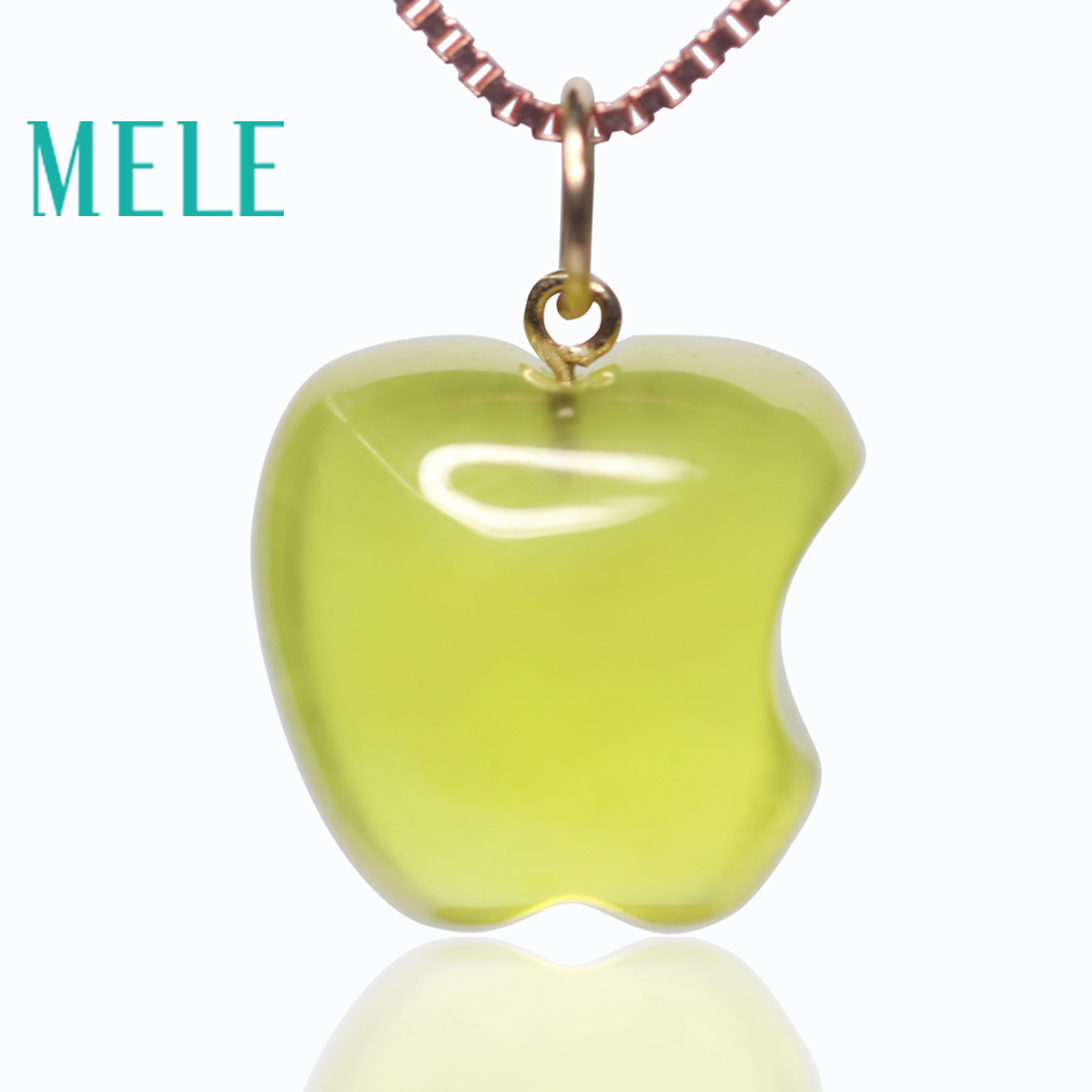 Natural yellow prehnite 18k real gold pendant for women and man,16X12mm apple shape gemstone fashion and simple Grape stoneNatural yellow prehnite 18k real gold pendant for women and man,16X12mm apple shape gemstone fashion and simple Grape stone