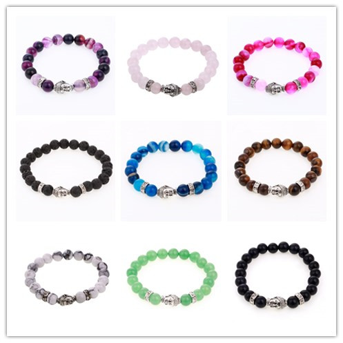 Wholesale 9 Colors Natural Stone Buddha Charm Bracelets Onyx Beads Yoga Wrist Bracelet For Lovers Silver Mujer Pulseras