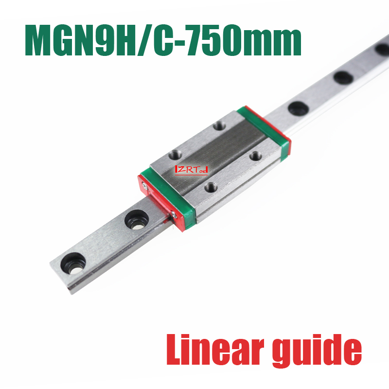 3D part MR9 9mm linear rail guide MGN9 length 750mm with mini MGN9H / C linear block carriage miniature linear motion guide way cnc part mr9 9mm linear rail guide mgn9 length 550mm with mini mgn9h linear block carriage miniature linear motion guide way
