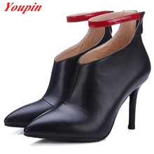 Leather Boots Deep Mouth 2016 Full Grain Leather Office Lady Outdoor Party Pointed Toe Thin Heels