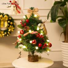 ISHOWTIENDA New 1PC 50cm Artificial Flocking Christmas Tree LED Multicolor Lights Holiday Window Decor Drop Shipping(China)