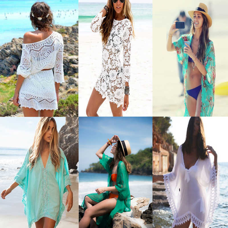 Crochet Pareo Beach Cover Up Salida De Playa Pareo Cover ups Swimwear Cover up Women White Lace Playa Beach Tunic Dress