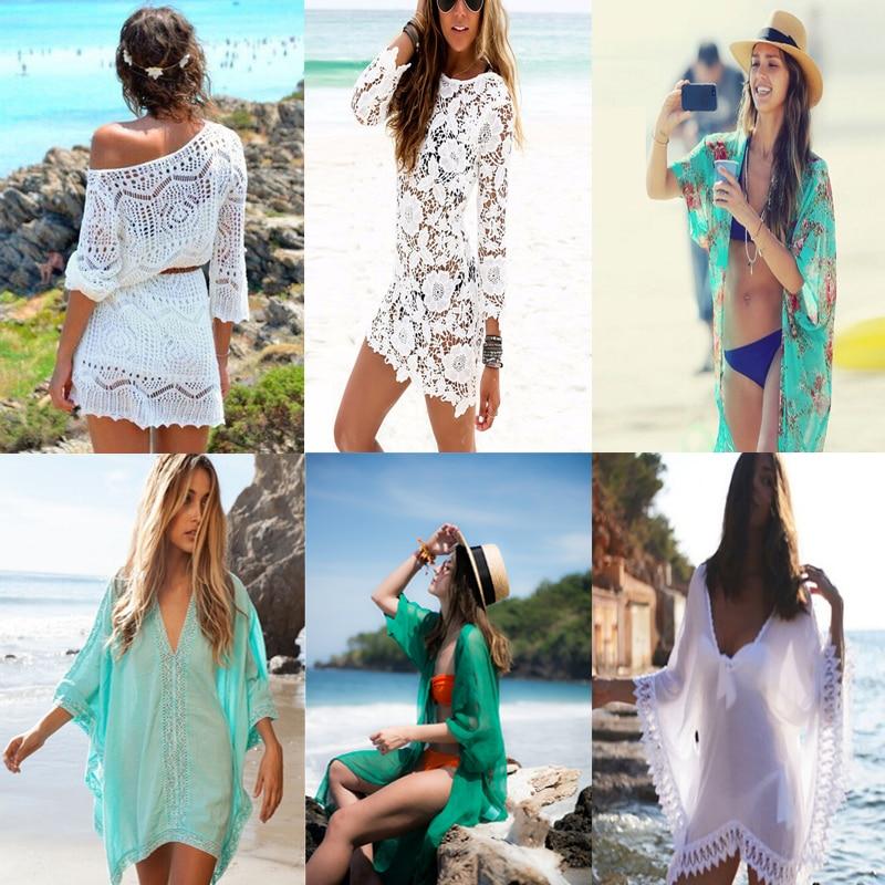 Crochet Pareo Beach Cover Up Salida De Playa Pareo Cover ups Swimwear Cover up Women White Lace Playa Beach Tunic Dress