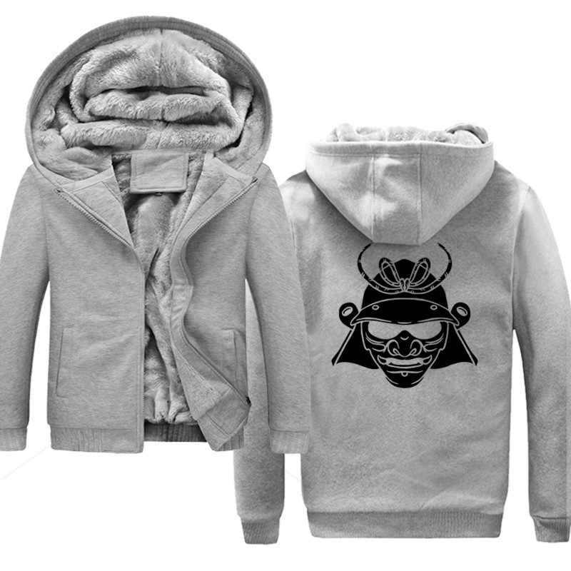 Японская Маска черный самурайский бренд для мужчин s бейсбольная худи толстовки с принтом Мужская Толстая теплая хлопковая куртка