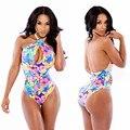 Calções de Praia verão Boho Mulheres Bodysuit Rompers Skinny Festa Club Wear Florals Impresso Top Bodysuit Macacão Femininals